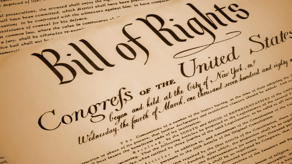 Close up of The Bill of Rights